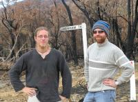 Stefan and me in the burnt forest